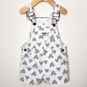 Oshkosh Girl's Heart Print Shortall Size 12M